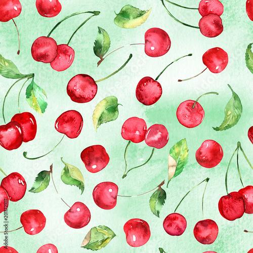 akwareli-wisni-owocowy-bezszwowy-wzor-na-akwareli-zieleni-tle
