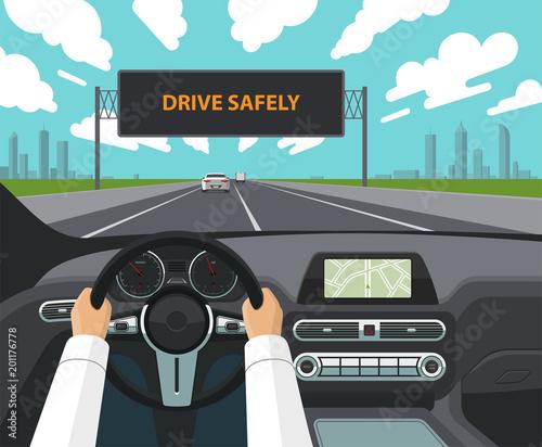 Drive safely concept Canvas Print