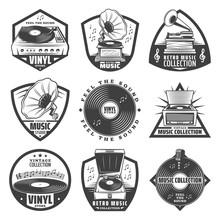 Vintage Monochrome Gramophone Labels Set