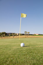 Golf Ball And Waving Hole Flag