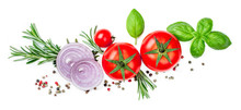 Fresh Red Tomato With Basil Leaf, Spices And Herbs Isolated On White Background, Close Up. Food Ingredients Top View.