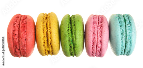 Macarons colored macarons isolated on white background without a shadow closeup. Top view. Flat lay