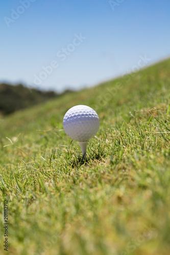 Staande foto Bol Golf ball on tee in the grass
