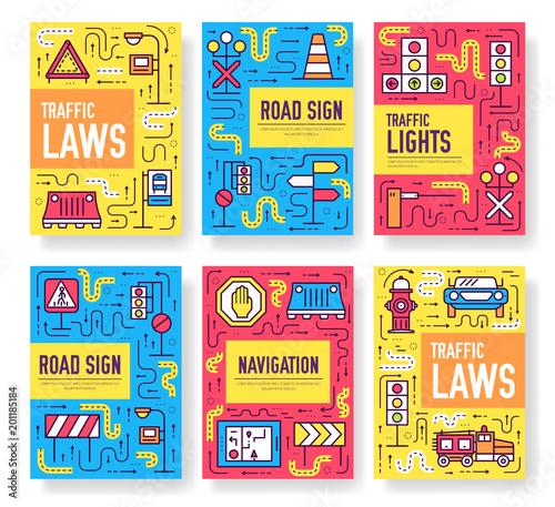 traffic light day vector brochure cards thin line set urban