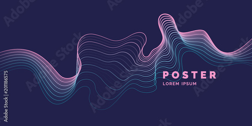 Poster Abstract wave Vector abstract background with a colored dynamic waves, line and particles.