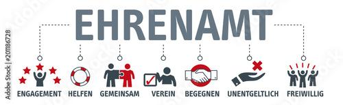 Fototapety, obrazy: Banner Ehrenamt Vektor Illustration mit icons