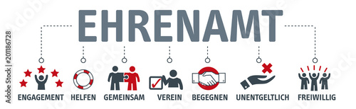 Fototapeta Banner Ehrenamt Vektor Illustration mit icons