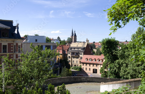 Poster Artistique Altenburg / Germany: View from the castle drive to the so called Red Spires and the waterworks tower