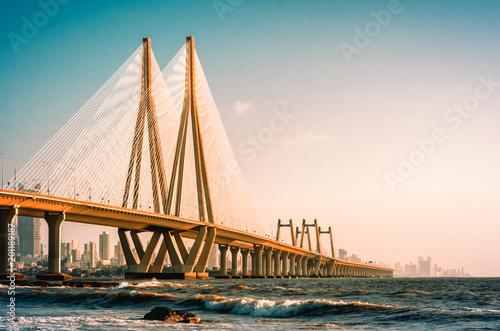 Bandra Worli Sea Link, Mumbai in the evening Wallpaper Mural