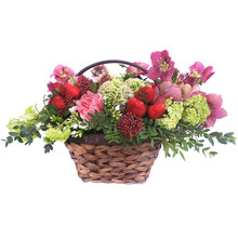 Basket Of Flowers And Strawberry