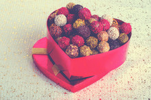 Heart-shaped Box With Chocolates. Handmade Candies. Copy Space.