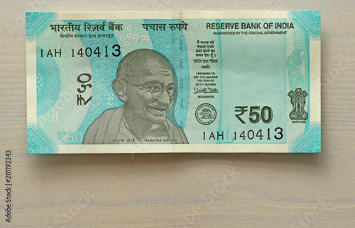 A new banknote of India with a denomination of 50 rupees
