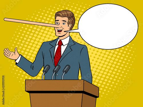 Politican with long nose lies pop art vector Canvas Print