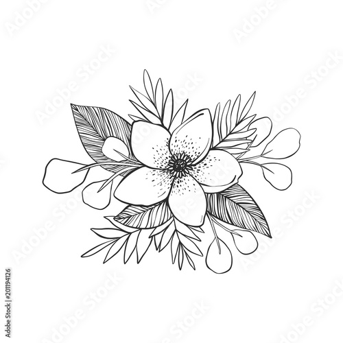 Black And White Flowers Tattoo Hand Drawn Vector Drawing Kaufen