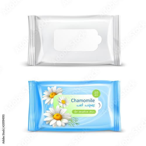 Fotografía  Wet Wipes Package Realistic Set