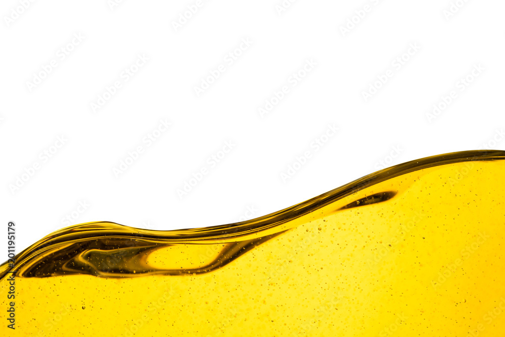 Fototapeta Pouring oil car motor or olive vegetable cooking and bubble isolated on white background