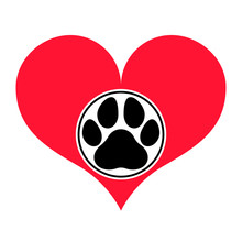 Red Heart Silhouette With A Pawprint In A Frame On It. Isolated Vector Object.