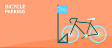 Bicycle Parking With Cool Bike In Flat Style. Vector Illustration.