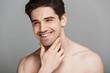 Leinwandbild Motiv Close up beauty portrait of half naked laughing man