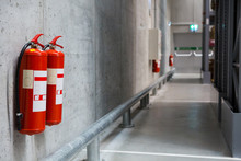 Fire Extinguishers In The Warehouse. Fire Safety