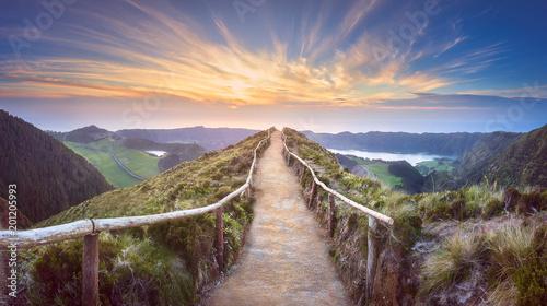 Poster de jardin Route dans la forêt Mountain landscape Ponta Delgada island, Azores