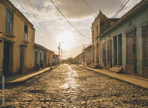 Cuba, Trinidad, people standing in the street