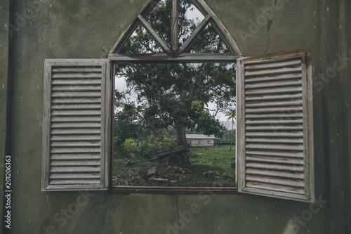 Cuba, Window in a wall looking into Alejandro de Humboldt National Park
