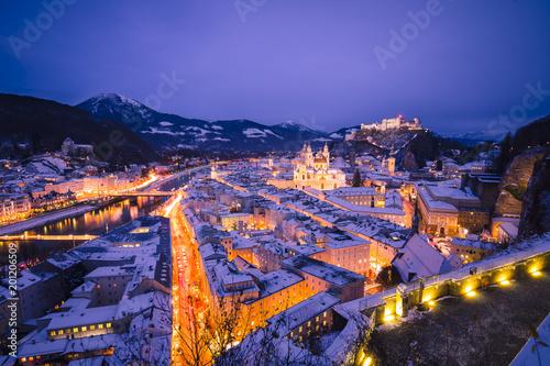 Austria, Salzburg, Hohensalzburg Fortress at night
