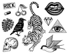 Set Of Fashion Patches. Tattoo...