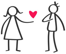 Simple Black And White Stick Figure Woman Giving Love Red Heart To Man Isolated On White Background, Declaration Of Love