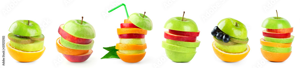 Stack of mixed fruit slices on white background