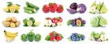 Fototapeta Fototapety do kuchni - Fruits and vegetables collection isolated apples strawberries lemons colors fruit