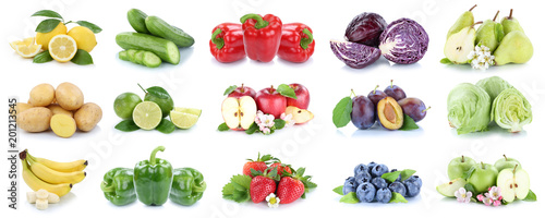 Poster Légumes frais Fruits and vegetables collection isolated apples strawberries lemons colors fruit