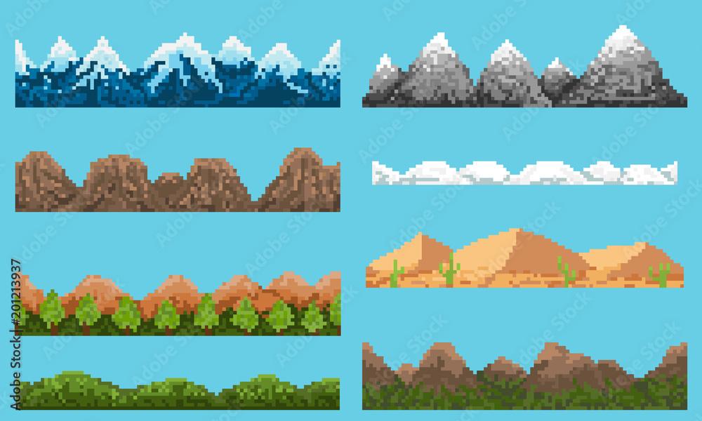 Fototapeta A set of pixel seamless element landscape