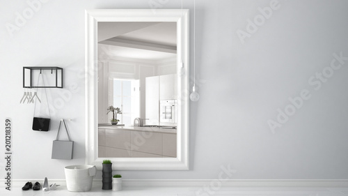 Pinturas sobre lienzo  Scandinavian entrance lobby hall with mirror reflecting bright kitchen with big