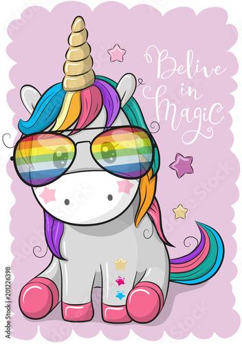 Cute unicorn with sun glasses