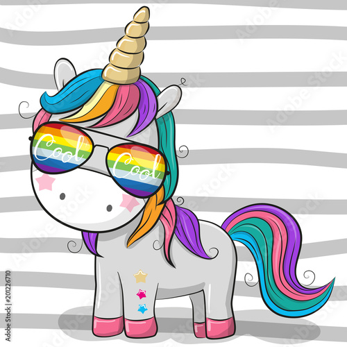 Cute unicorn with sun glasses Canvas Print