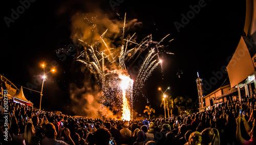 "Foto  burning of traditional festival fire of Brazil in the month of June, ""Festa Juni"