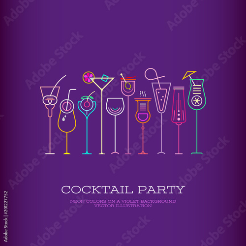 Aluminium Prints Abstract Art Cocktail Party vector poster design
