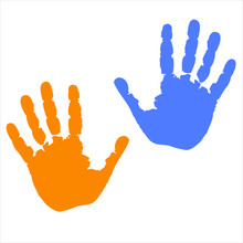 Prints Of Hands Different Color Icons. Human Hands Symbol Isolated On White Background. Palms Silhouettes In Flat Design. Vector Illustration