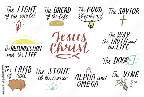 Canvas Print Set of 11 Hand lettering christian quotes about Jesus Christ
