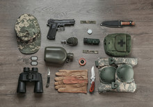 Set Of Military Equipment On W...