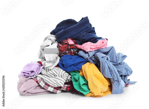 Fotografía Pile of dirty clothes on white background