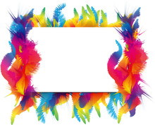 Colorful Isolated Frame. Abstract Tropic Figures Like A Feathers Or Leaves.