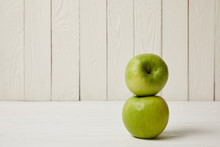 Two Raw Fresh Green Apples On ...