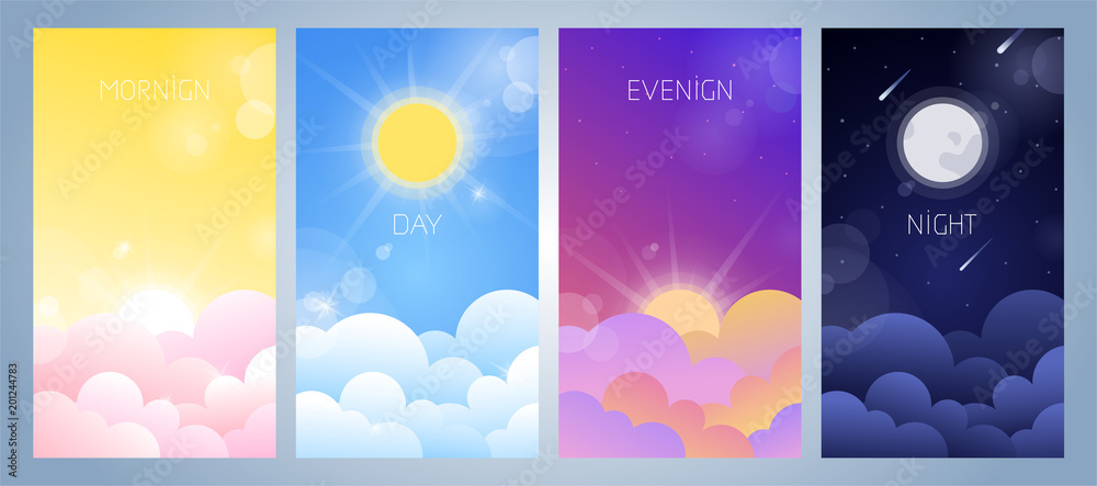 Fototapety, obrazy: Set of morning, day, evening and night sky illustration with sun, clouds, moon and stars, sunset and sunrise. Weather app screen, mobile interface design