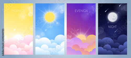 Set of morning, day, evening and night sky illustration with sun, clouds, moon and stars, sunset and sunrise Canvas-taulu