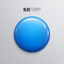Blank Blue Glossy Badge Or But...
