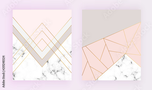 Obraz Modern geometric designs with marble texture, gold lines, triangles, pastel pink, grey colors background. Trendy template for invitation, card, banner, wedding, placard, party, flyer, brochure - fototapety do salonu