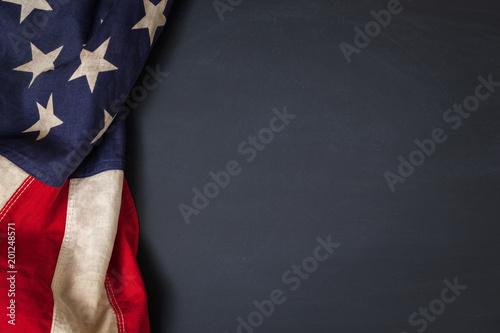 Canvas Prints Countryside Vintage American Flag Bordering Blank Chalkboard